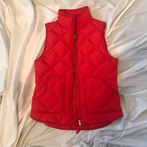 J. Crew red puffer quilted vest